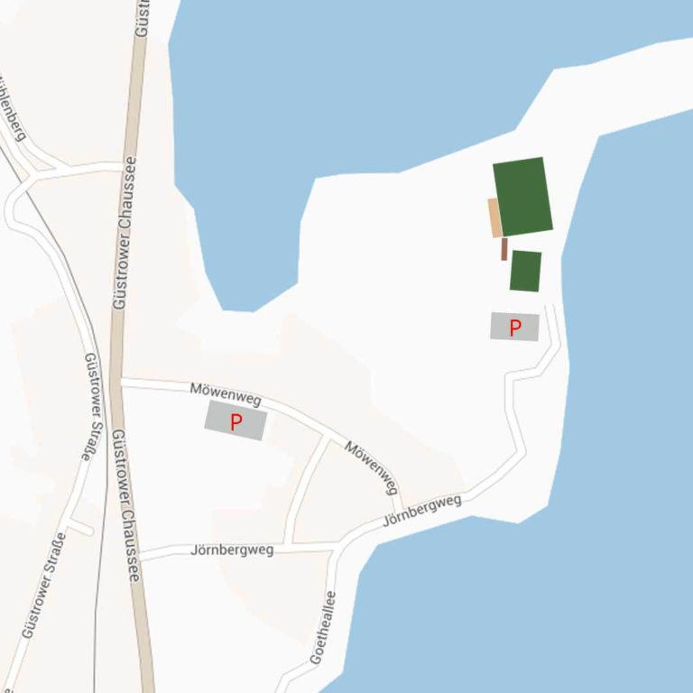 Lageplan vom Stadion am Jörnberg, vom FSV Krakow am See